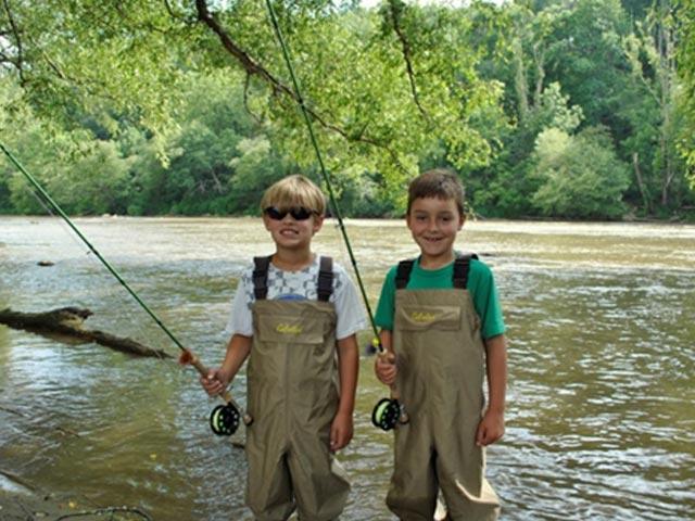 Kids fishing on a lake