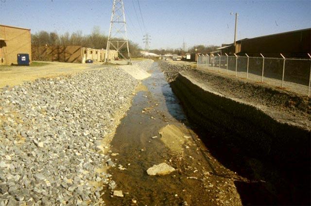 Urban, straightened creek with very little habitat