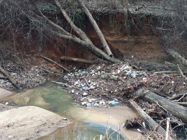Trash and debris in a creek